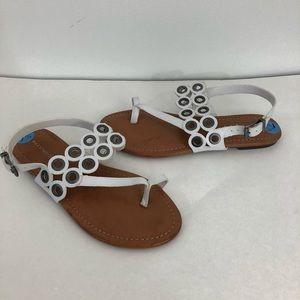 New Max Studio Grommet Strap Sandals White 7.5